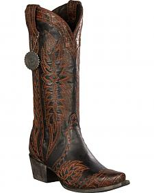 Lane for Double D Ranch Women's Black Ramirez Croc Print Boots - Snip Toe