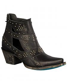 Lane Women's Black Studs & Straps Fashion Boots - Snip Toe
