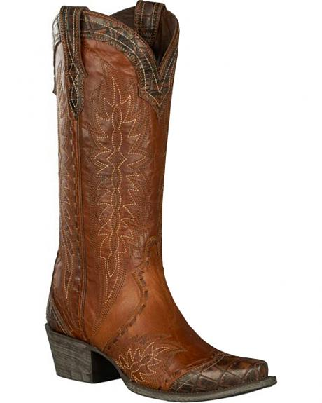 Lane for Double D Ranch Brown Ramirez Croc Print Cowgirl Boots - Snip Toe