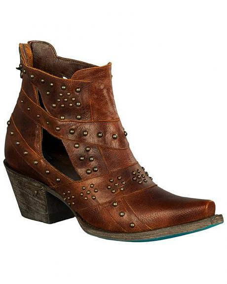 Lane Women's Brown Studs & Straps Fashion Boots - Snip Toe