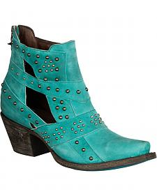 Lane Women's Turquoise Studs & Straps Fashion Boots - Snip Toe