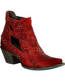 Lane Women's Red Studs & Straps Fashion Boots - Snip Toe