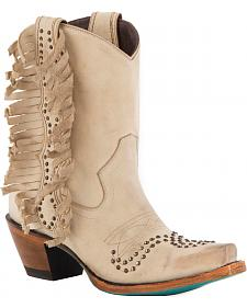 Lane Women's Olivia Cream Fringe Boots - Snip Toe