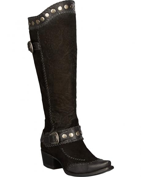 Lane for Double D Ranch Black Oregon Trail Boots - Snip Toe