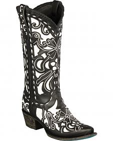 Lane Black and White Robin Cowgirl Boots - Snip Toe