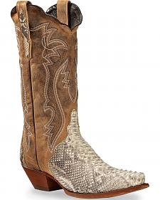 Dan Post Tan and White Python Charmer Cowgirl Boots - Snip Toe