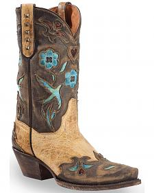 Dan Post Tan Vintage Bluebird Cowgirl Boots - Snip Toe
