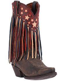 Dan Post Brown Liberty Fringe Cowgirl Boots - Snip Toe