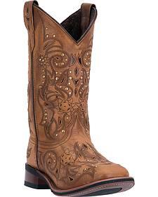 Laredo Tan Janie Western Boots - Square Toe