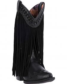 Dingo Black Heart Throb Fringe Cowgirl Boots - Pointed Toe