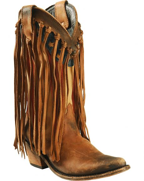 Liberty Black Brown American Flag Fringe Cowgirl Boots - Pointed Toe