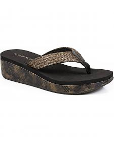 Roper Women's Brown Snake Print Wedge Sandals