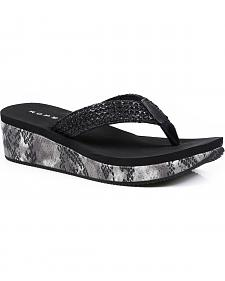 Roper Women's Black Snake Print Wedge Sandals