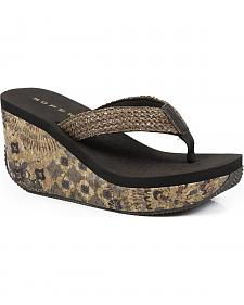 Roper Women's Brown Cork Wedge Sandals
