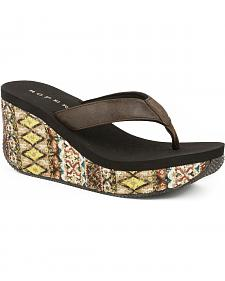 Roper Women's Brown Aztec Wrap Wedge Sandals