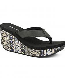 Roper Women's Black Aztec Wrap Wedge Sandals