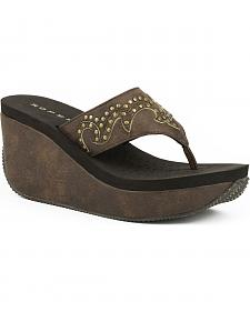 Roper Women's Brown Studded Faux Leather Wedge Sandals