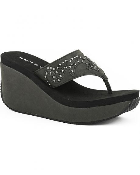 Roper Women's Black Studded Faux Leather Wedge Sandals