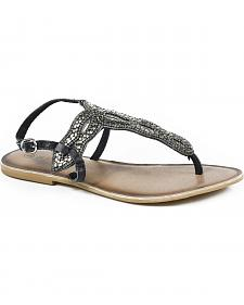 Roper Women's Silver Leather Cooper Metal Beaded Thong Sandals