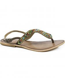 Roper Women's Color Crystal Leather Thong Sandals