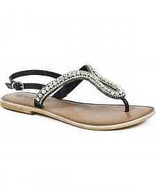 Roper Women's Black Crystal Thong Flat Sandals