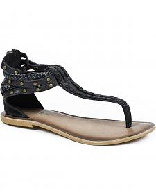 Roper Women's Black Braided Sandal Flats