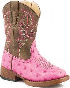 Roper Toddler Girls' Pink Ostrich Print Boots - Square Toe
