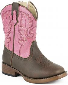 Roper Toddler Girls' Ostrich Print Boots - Square Toe