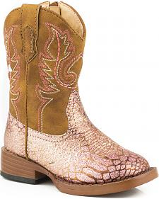 Roper Toddler Girls' Pink Glittery Western Boots - Square Toe