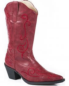 Roper Red Floral Embroidered Cowgirl Boots - Pointed Toe