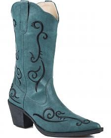 Roper Blue Floral Embroidered Cowgirl Boots - Pointed Toe