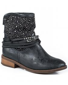Roper Black Bling Short Cowgirl Boots - Round Toe