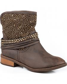 Roper Brown Bling Short Cowgirl Boots - Round Toe