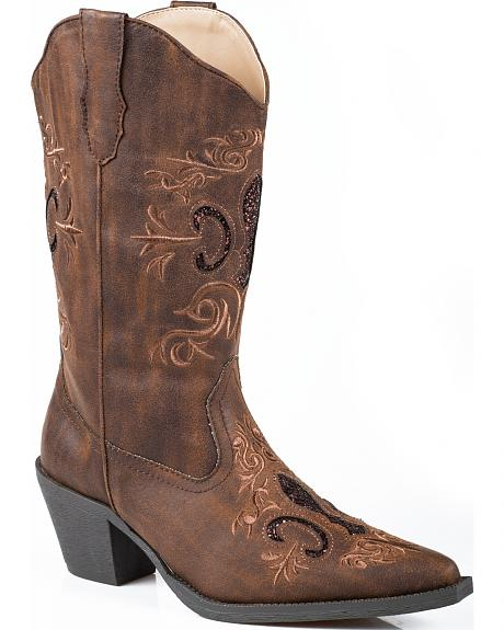 Roper Glitter Inlay Cowgirl Boots - Pointed Toe
