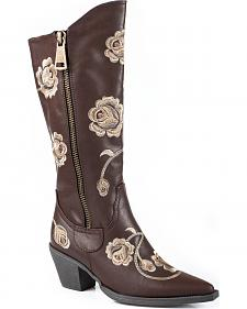 Roper Brown Floral Embroidered Tall Zipper Boots - Pointed Toe