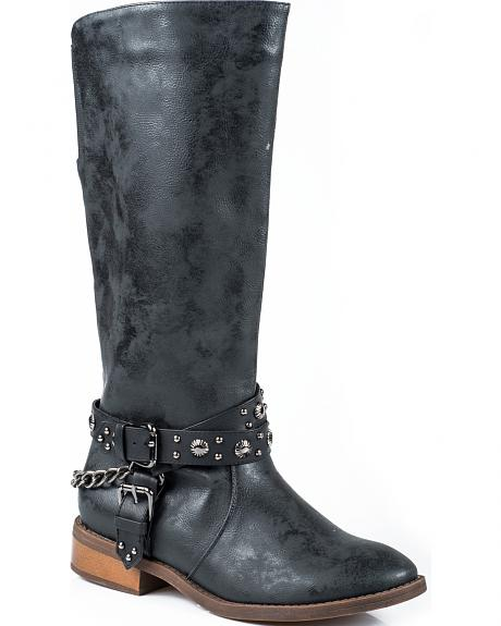 Roper Black Studded Riding Strap Cowgirl Boots - Round Toe