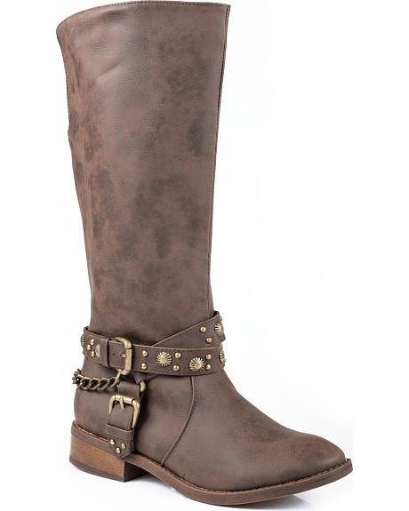 Roper Studded Riding Strap Cowgirl Boots - Round Toe