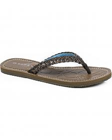 Roper Women's Brown Glitter Braided Flat Sandals