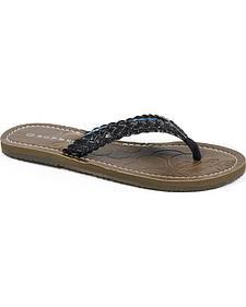 Roper Women's Black Glitter Flat Sandals