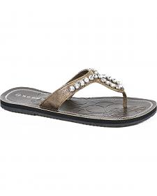 Roper Women's Brown Crystal Thong Flat Sandals