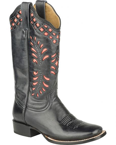 Roper Black Neon Orange Cowgirl Boots - Square Toe