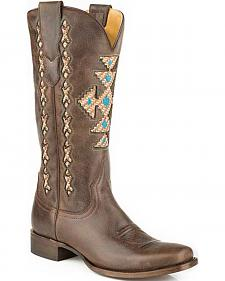 Roper Brown Navajo-Inspired Inlay Cowgirl Boots - Square Toe