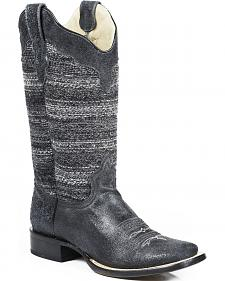 Roper Black Fabric Vintage Stripe Cowgirl Boots - Square Toe