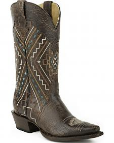 Roper Brown Neon Aztec Sanded Cowgirl Boots - Snip Toe