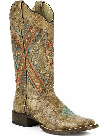 Roper Distressed brown Native Embroidered Cowgirl Boots - Square Toe