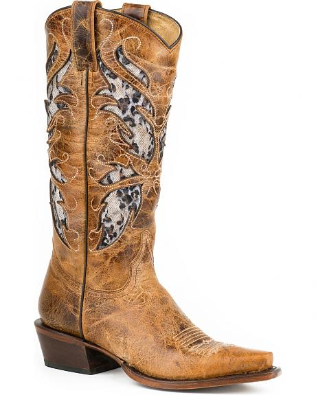 Roper Leopard Lace Inlay Cowgirl Boots - Snip Toe