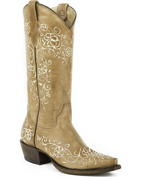 Roper Tan Floral Stitched Cowgirl Boots - Snip Toe