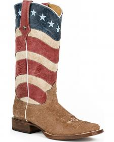 Roper Vintage American Flag Cowgirl Boots - Square Toe