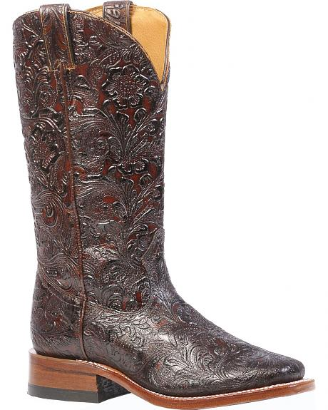 Boulet Floral Embossed Cowgirl Boots - Square Toe