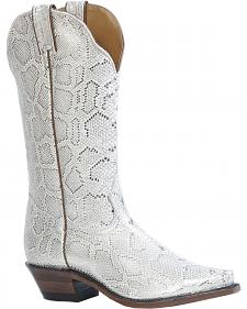 Boulet Metallic Snake Print Cowgirl Boots - Snip Toe
